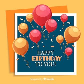 Fundo de aniversário de balões de mão desenhada