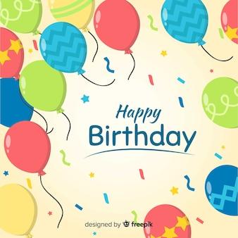 Fundo de aniversário de balões impressos