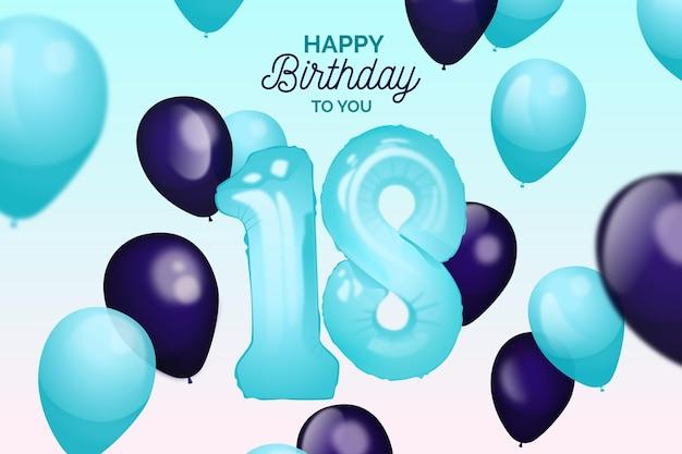 Fundo de aniversário de balões realistas