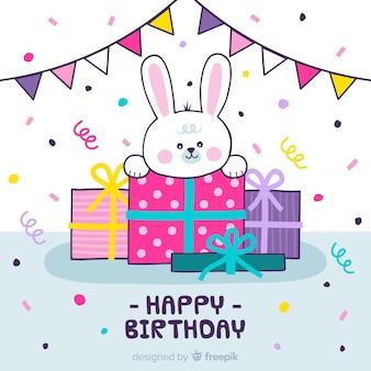 Fundo de aniversário de coelho de mão desenhada