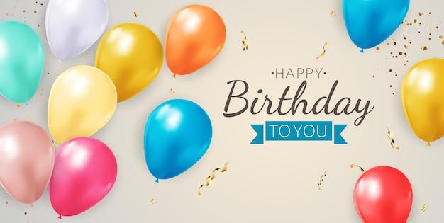 Fundo de aniversário de festa feliz com balões realistas, moldura e confetes.