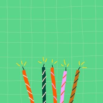 Fundo de aniversário de grade verde com velas de doodle fofas