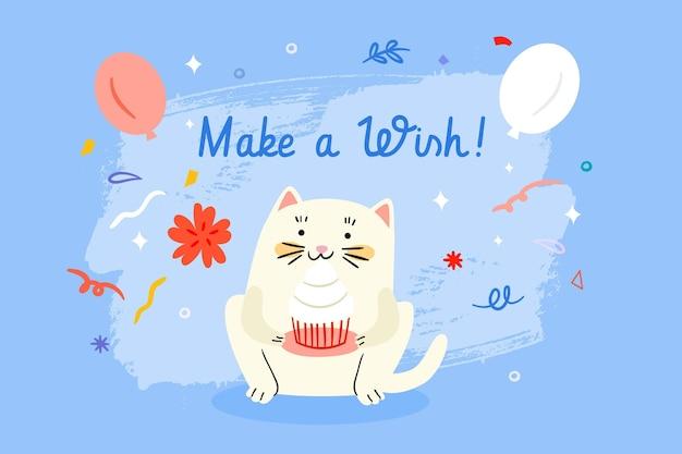 Fundo de aniversário desenhado com gato fofo