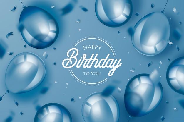 Fundo de aniversário elegante com balões realistas