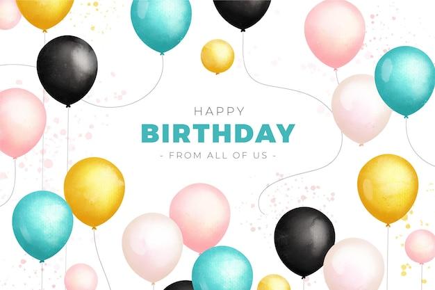 Fundo de aniversário em aquarela com balões coloridos