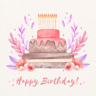 Fundo de aniversário em aquarela com bolo