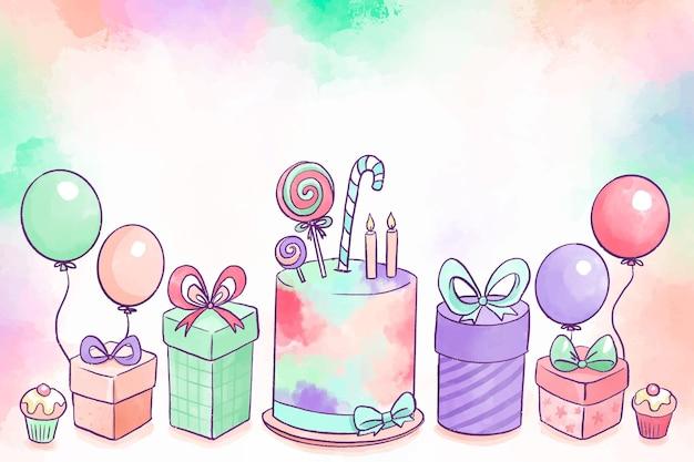Fundo de aniversário em aquarela