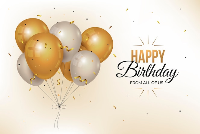 Fundo de aniversário realista com balões dourados
