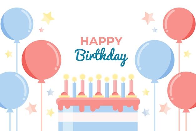 Fundo de aniversário realista com balões e bolo