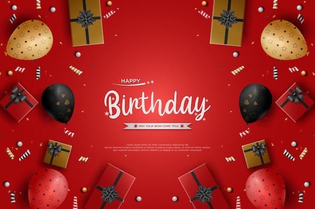 Fundo de aniversário realista com balões e caixas de presente
