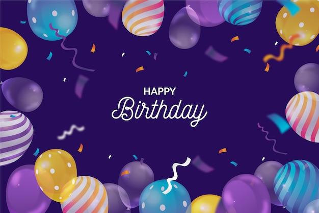 Fundo de aniversário realista com balões e confetes