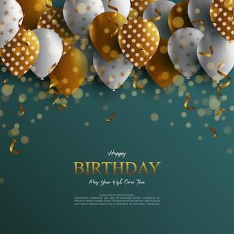 Fundo de aniversário realista com balões e glitter
