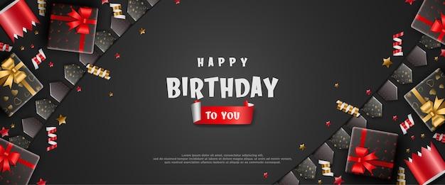 Fundo de aniversário realista com caixas de presente e chapéus de aniversário
