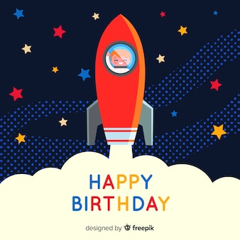 Fundo de aniversário sorridente de astronauta