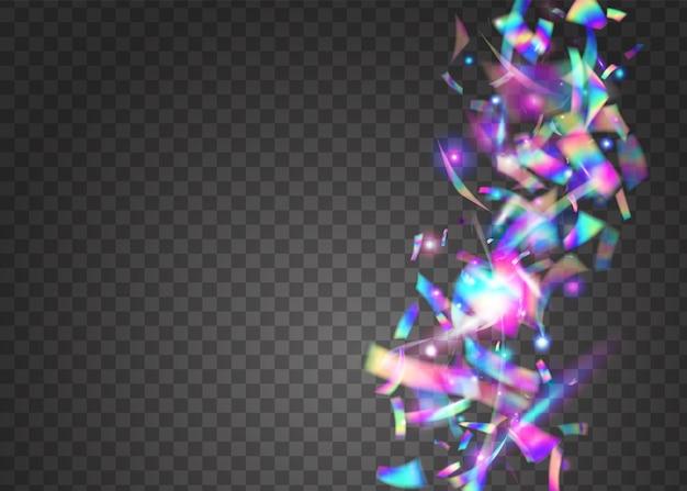Fundo de aniversário. violet blur tinsel. arte voadora. design de festa. folha festiva. luz solar realista de discoteca. textura holográfica. falling glitter. fundo de aniversário azul