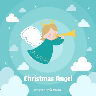 Fundo de anjo de natal de mão desenhada