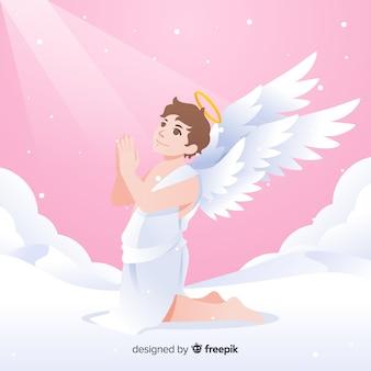 Fundo de anjo rezando de natal