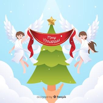 Fundo de anjos de natal de árvore de natal