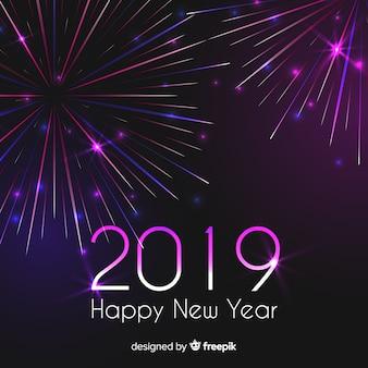 Fundo de ano novo 2019 de fogos de artifício