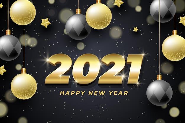 Fundo de ano novo 2021 com decoração dourada realista