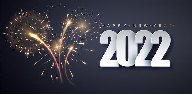 Fundo de ano novo 2022 de fogos de artifício. conceito de decoração de férias, cartão, cartaz, banner, panfleto.