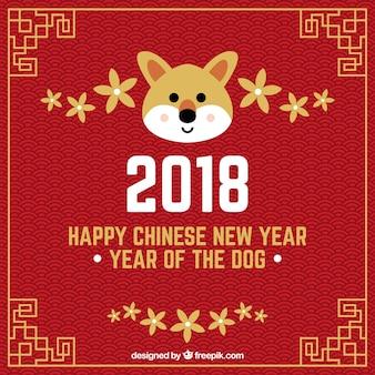 Fundo de ano novo chinês com cara de cachorro