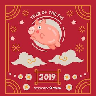 Fundo de ano novo chinês de mão desenhada