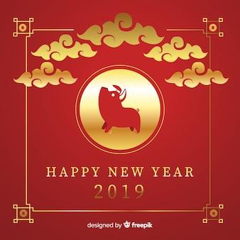 Fundo de ano novo chinês de nuvens douradas