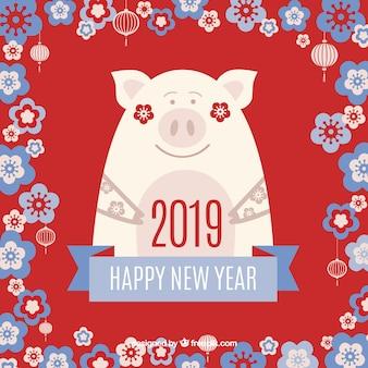 Fundo de ano novo chinês de quadro floral