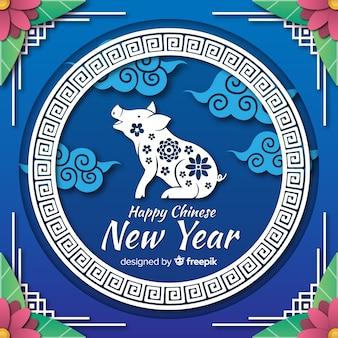 Fundo de ano novo chinês de silhueta de porco