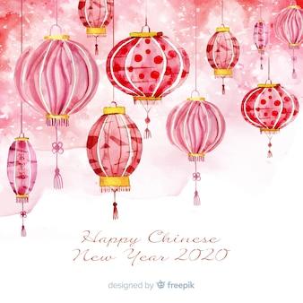 Fundo de ano novo chinês em aquarela