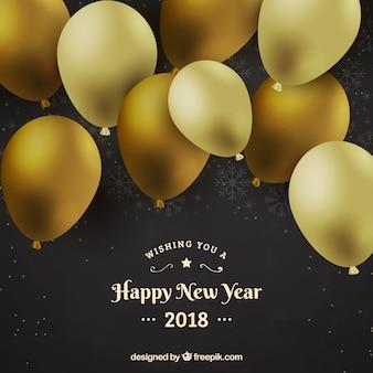 Fundo de ano novo com balões dourados