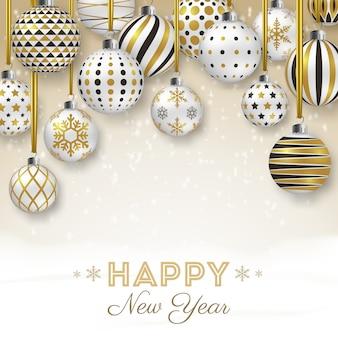Fundo de ano novo com bolas ornamentadas coloridas