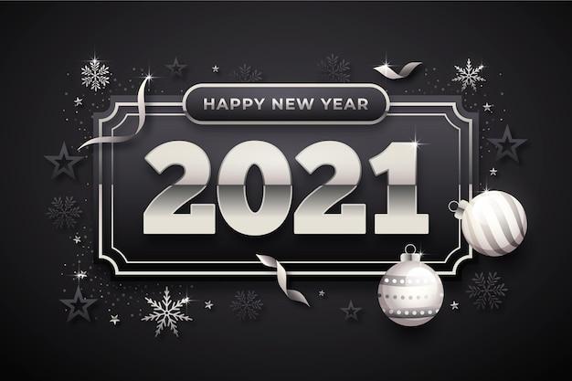 Fundo de ano novo com elementos de prata