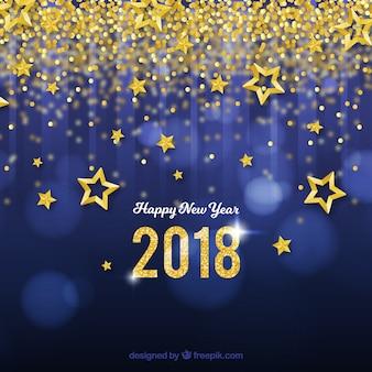 Fundo de ano novo com estrelas douradas e confetes