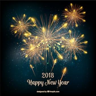 Fundo de ano novo com fogos de artifício dourados realistas