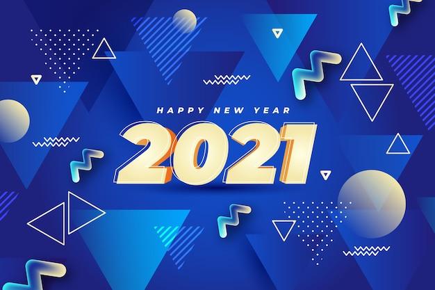 Fundo de ano novo com formas abstratas em azul