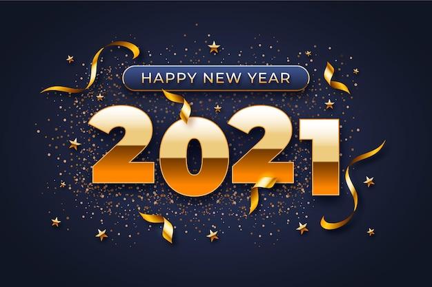 Fundo de ano novo com números dourados e confetes