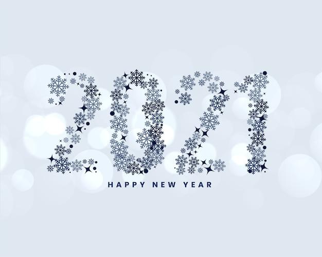 Fundo de ano novo com texto criativo de floco de neve de 2021