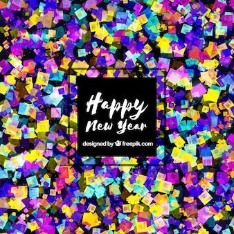 Fundo de ano novo confeti colorido