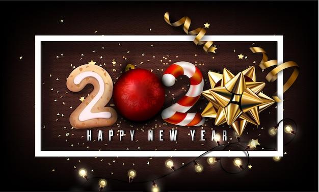Fundo de ano novo de 2020 com elementos de natal