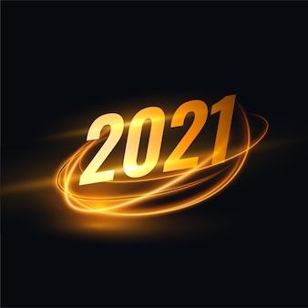Fundo de ano novo de 2021 com faixa de luz dourada