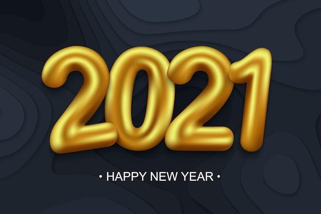 Fundo de ano novo de 2021 com números dourados