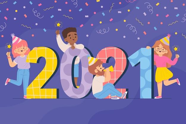 Fundo de ano novo de 2021 desenhado à mão ilustrado