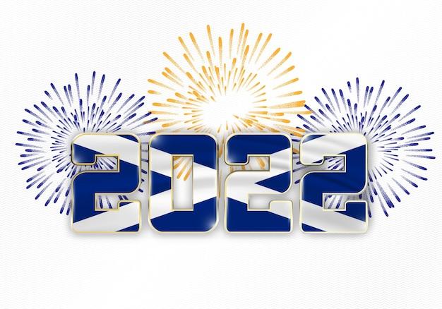 Fundo de ano novo de 2022 com bandeira nacional da escócia e fogos de artifício