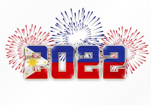 Fundo de ano novo de 2022 com bandeira nacional das filipinas e fogos de artifício