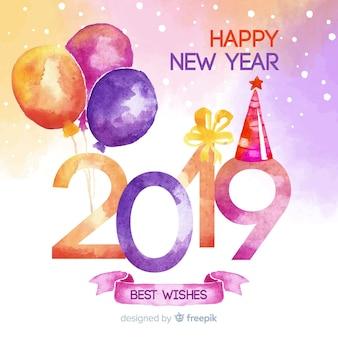 Fundo de ano novo de balões em aquarela