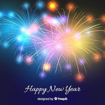 Fundo de ano novo de fogos de artifício realista