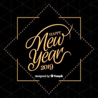 Fundo de ano novo de mão desenhada 2019