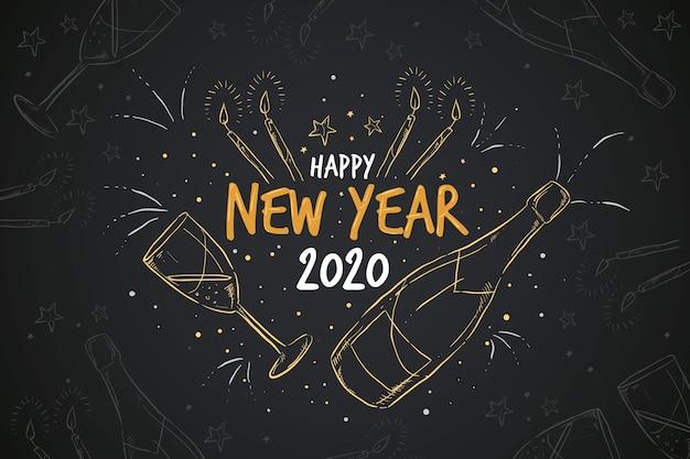 Fundo de ano novo desenhado à mão